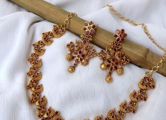 Matt Finish Ruby Necklace Set From Emblish