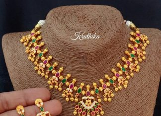 One Gram Gold Stone Necklace Set From Kruthika Jewellery