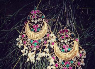 Bold Ruby Emerald Earrings From Rajatamaya