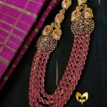 Gold Plated Ruby Haram With Side Locket