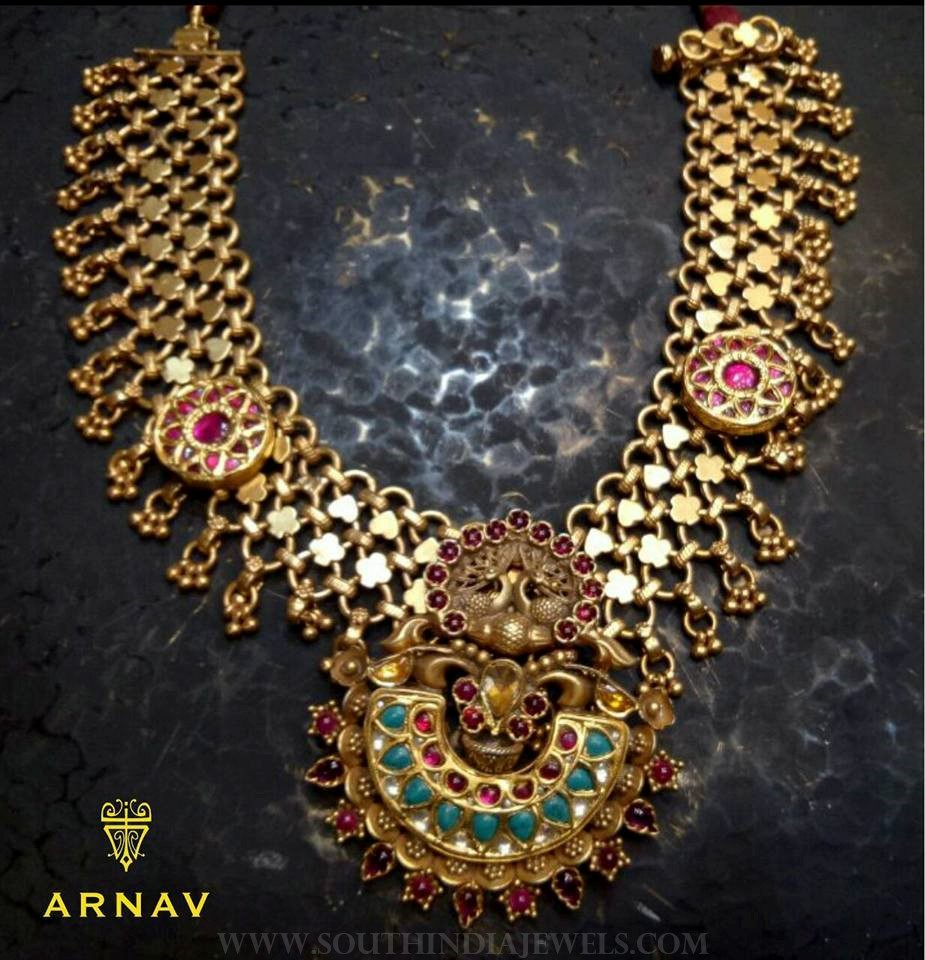 Beautiful gold antique necklace model arnav