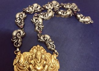 Dual Toned Temple Necklace From Rajatamaya