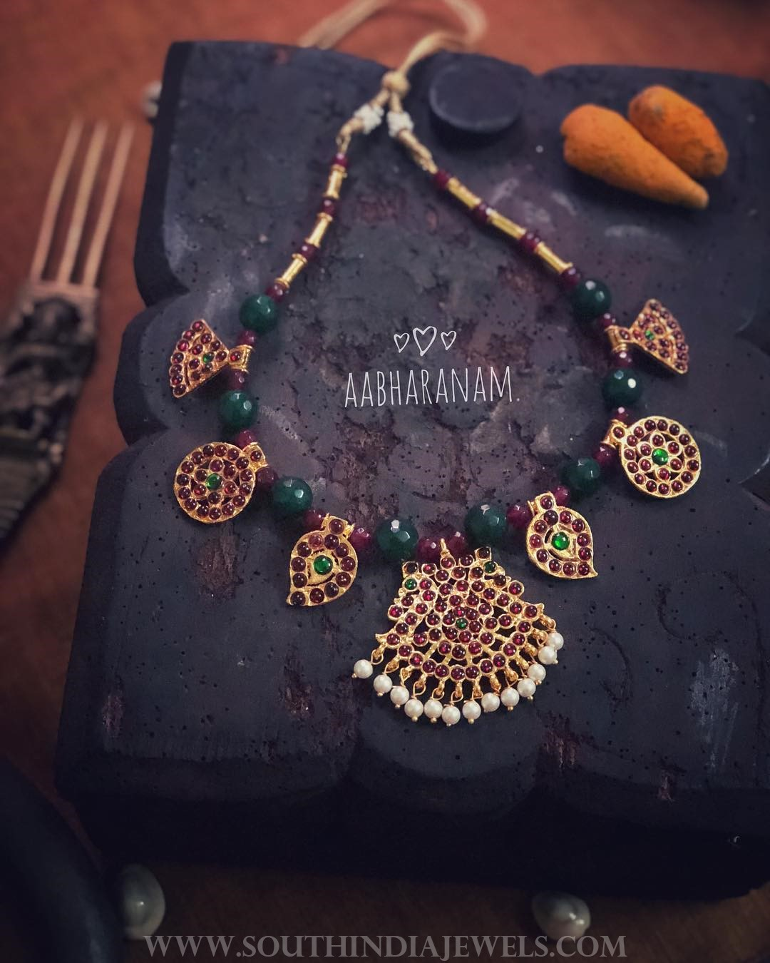 Green Kemp Necklace Set From Aabharanam