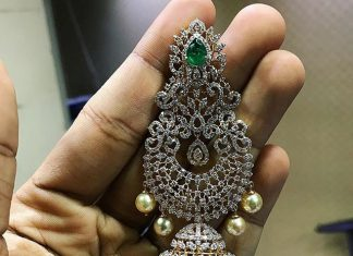 Bold Diamond Jhumka From P.Satyanarayan & Sons Jewellers