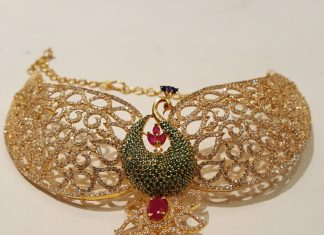 Gold cz stone peacock choker mahalaxmi