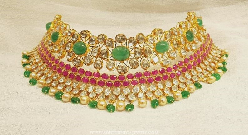 Latest Bold Gold Pachi Choker Necklace