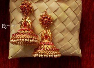 Gold Plated Kemp Ruby Jhumka From Anicha