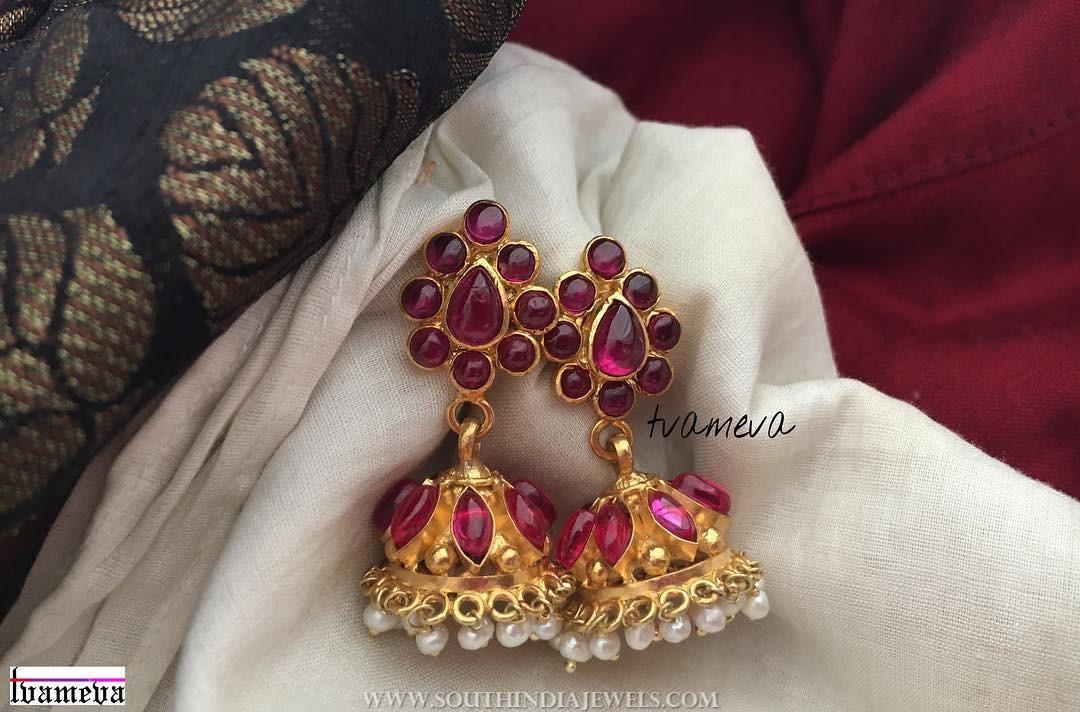 Gold plated ruby Jumka