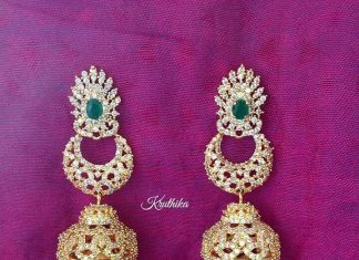 Gold plated stone jhumka kruthika jewellery