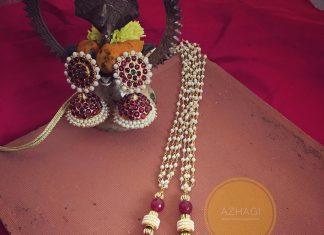 Imitation pearl kemp long necklace azhagi beads