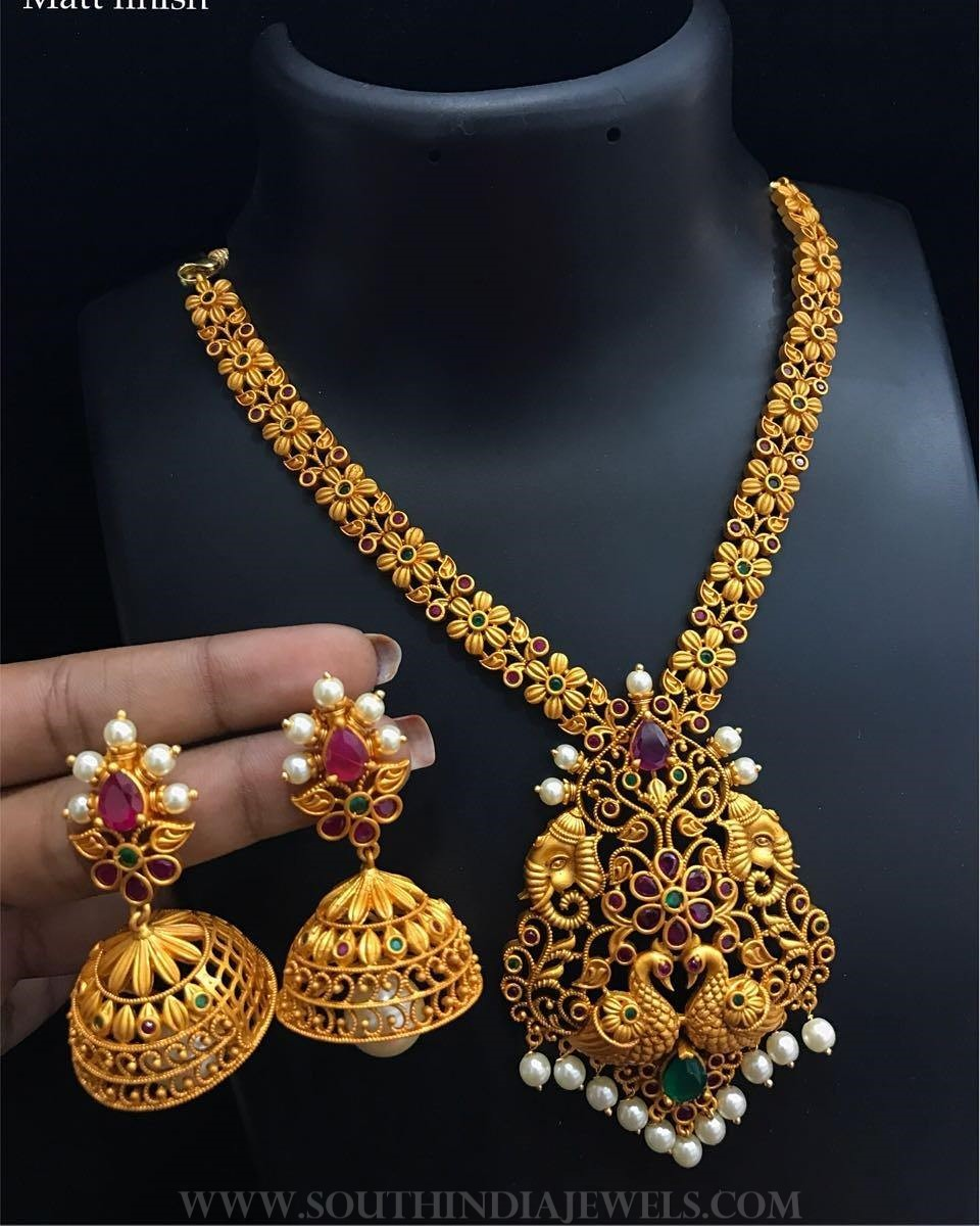 One Gram Gold Peacock Necklace Set From Alamkara