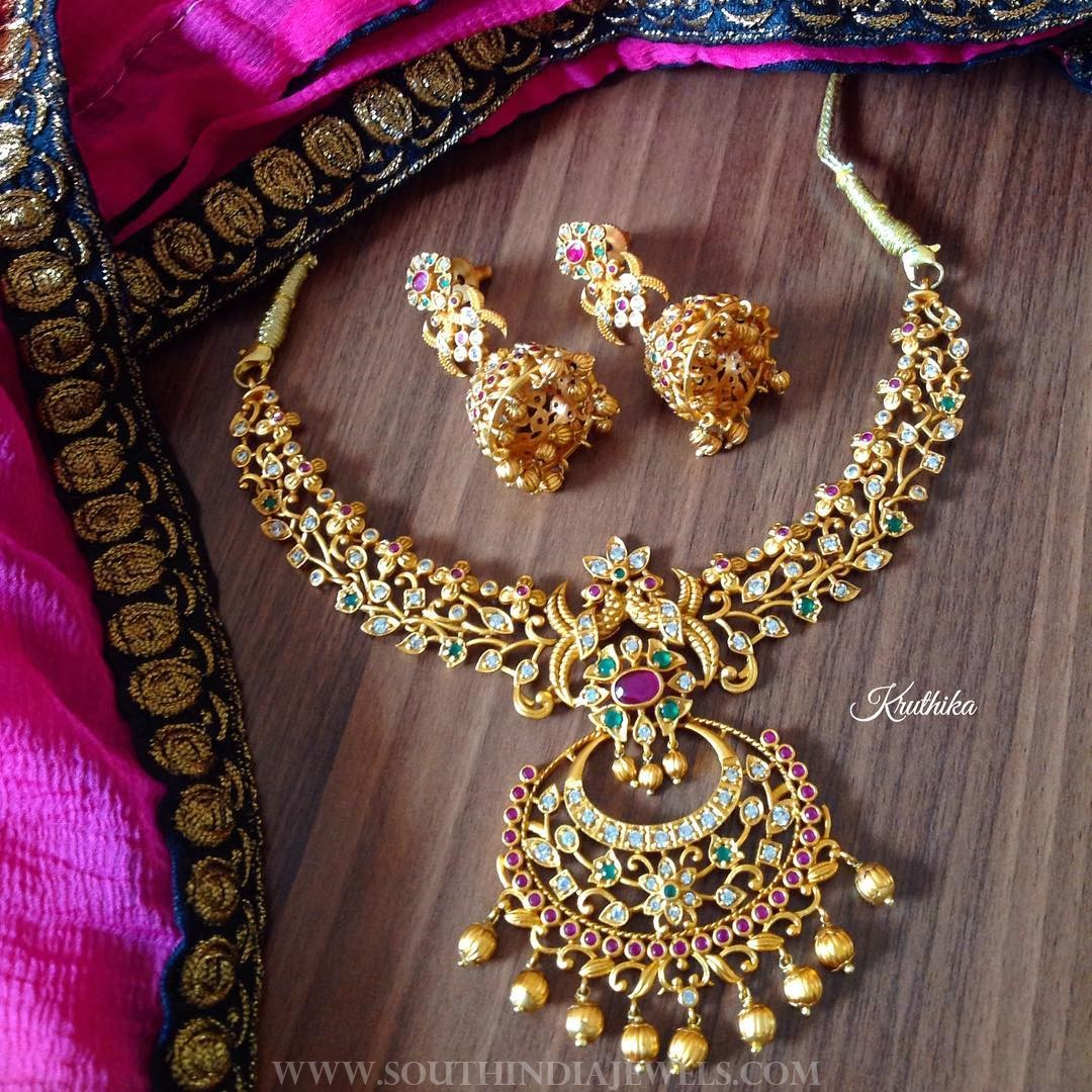 One Gram Gold Stone Set From Kruthika Jewellery