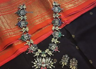Pure silver floral necklace rajatamaya