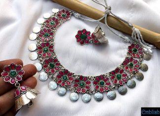 Silver Coin Necklace & Jhumka