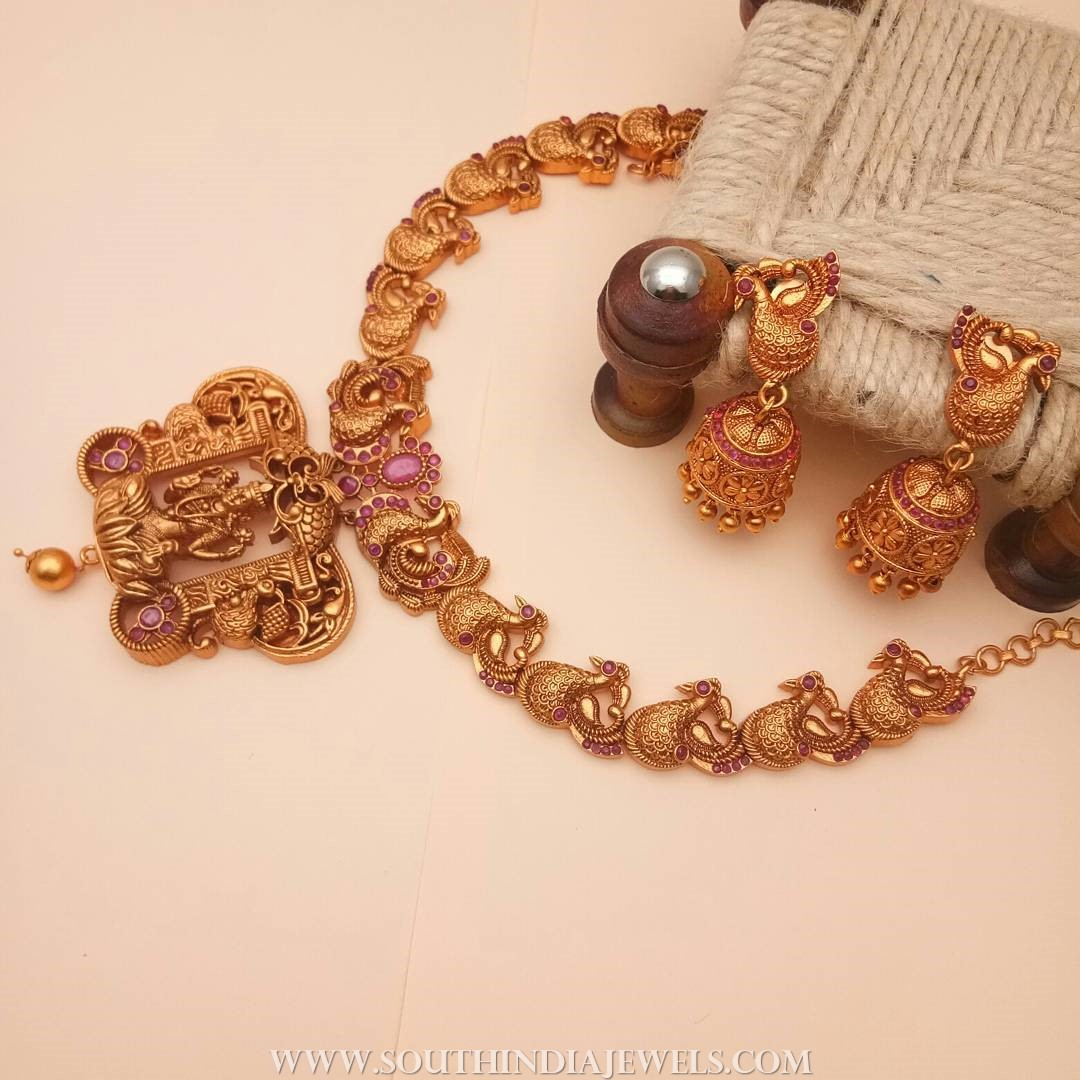 1 gram gold matt finish necklace set kimigirlindia