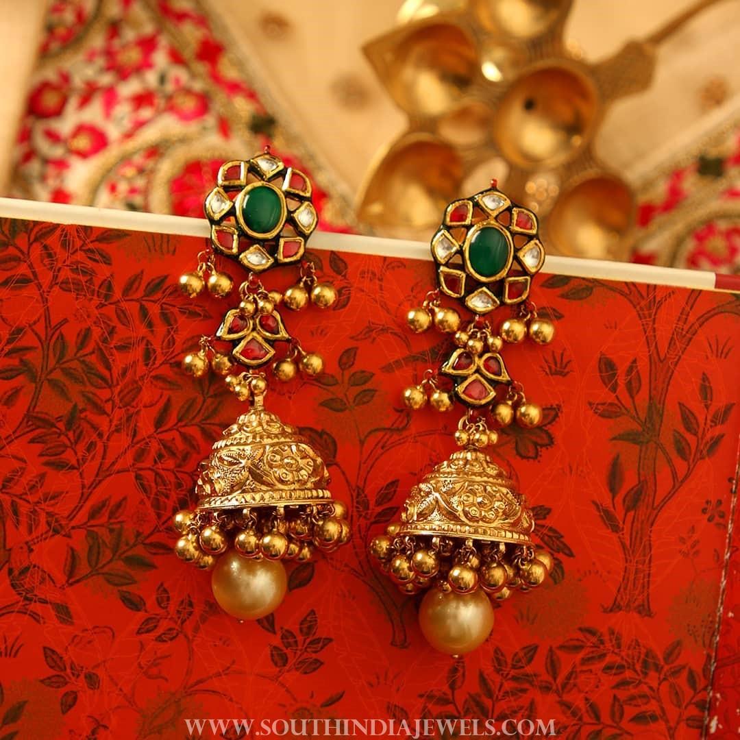 22k gold jhumka manubhai jewels