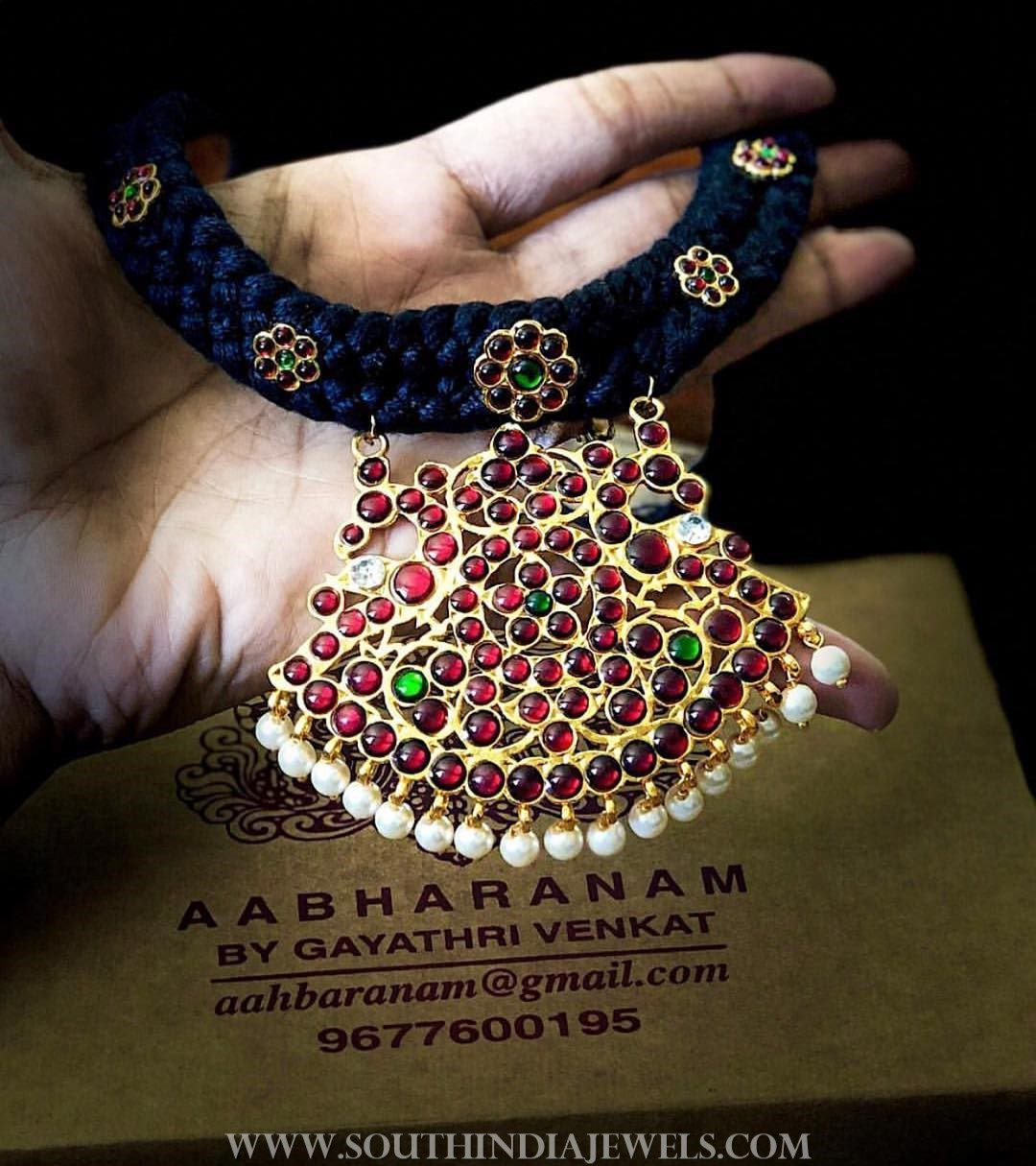 Black threaded kemp necklace abharanam