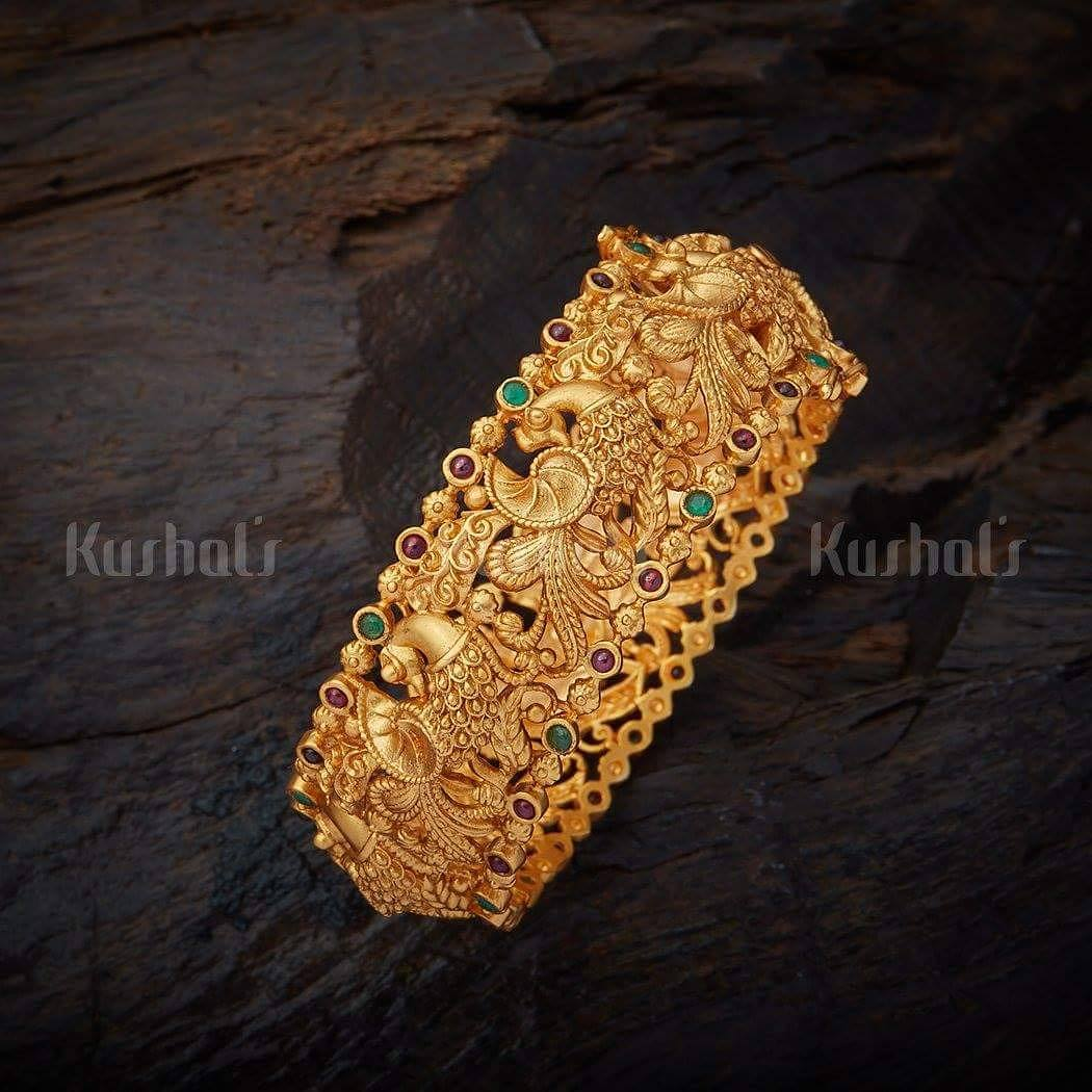 Bold gold plated kada bangle kushalsfashionjewellery_
