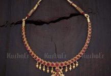 Gold Plated ruby attigai kushalsfashionjewellery