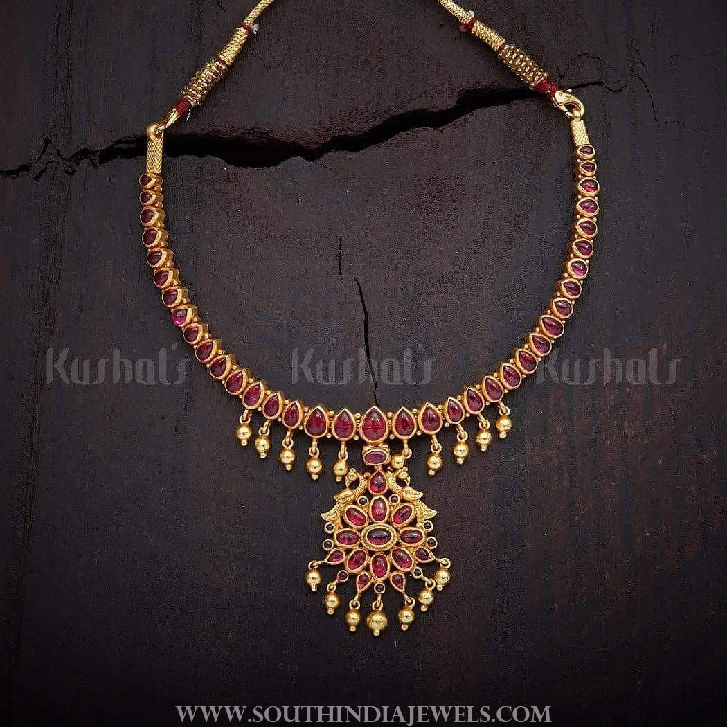 Gold Plated ruby attigai kushalsfashionjewellery