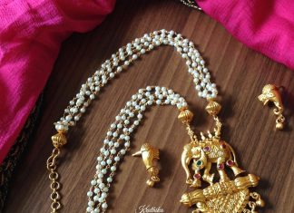 Gold plated antique pearl necklace set kruthika jewellery