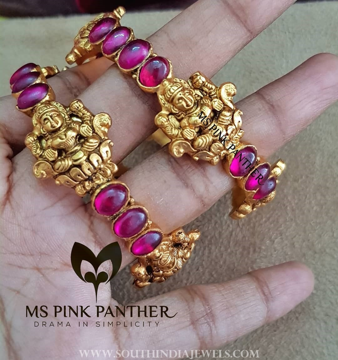 Gold plated antique ruby bangle ms pink panthers