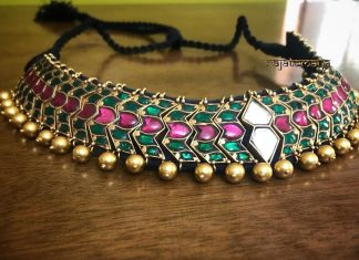 Gold plated emerald choker rajatamaya