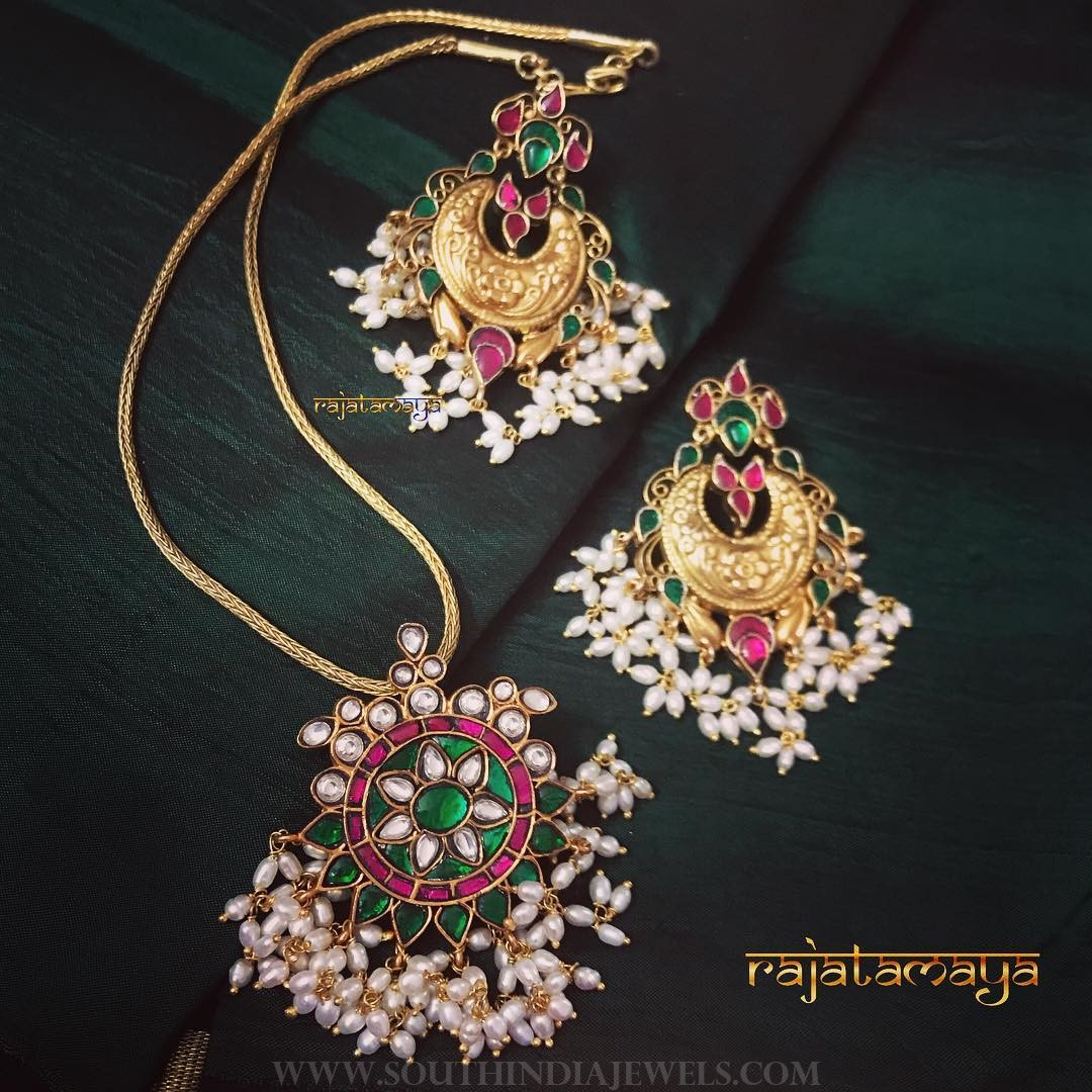 Gold plated pearl short necklace set rajatamaya