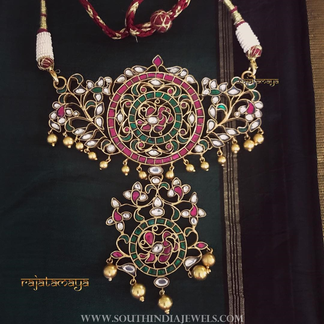 Gold plated ruby emerald pendant rajatamaya