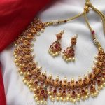 Gold Plated Ruby Pearl Necklace Set From Emblish Coimbatore