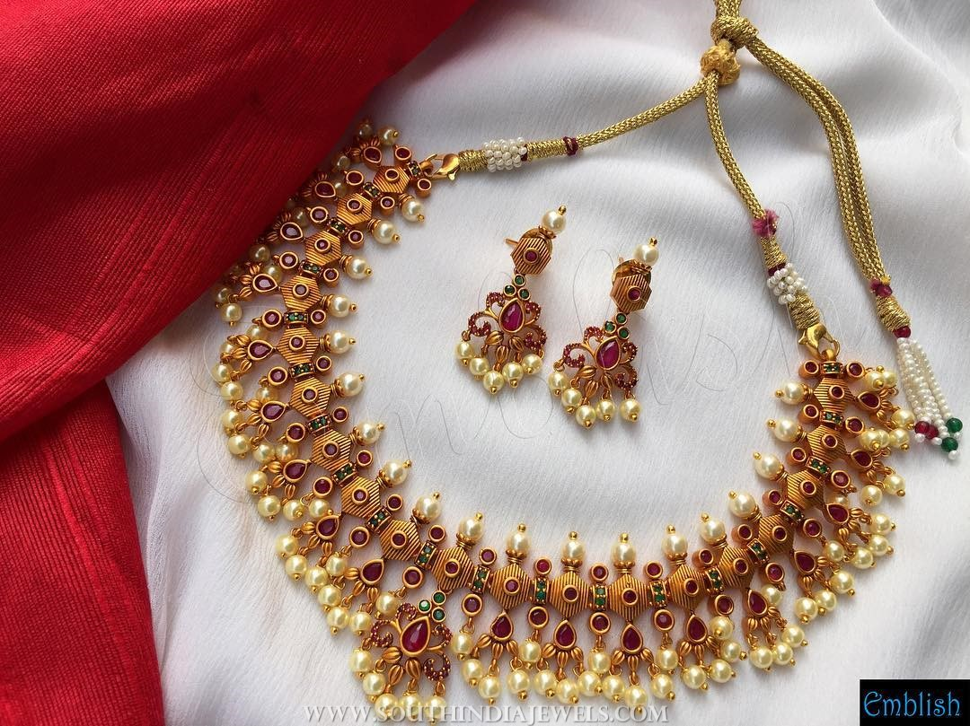 Gold plated ruby pearl necklace set emblishcoimbatore