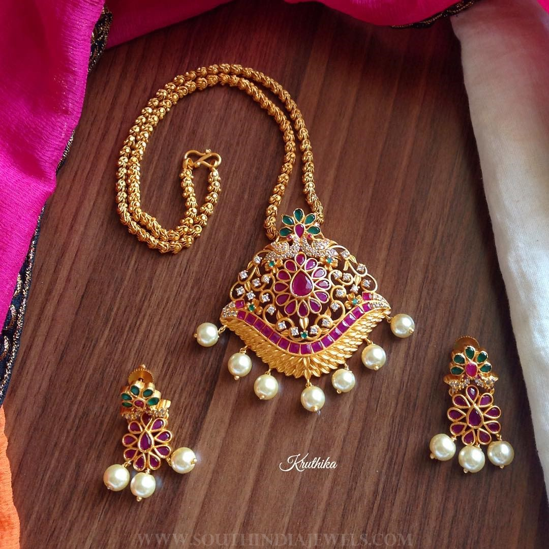 Gold plated short necklace kruthika jewellery