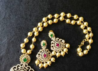 Imiation AD Pearl Necklace set vriksham
