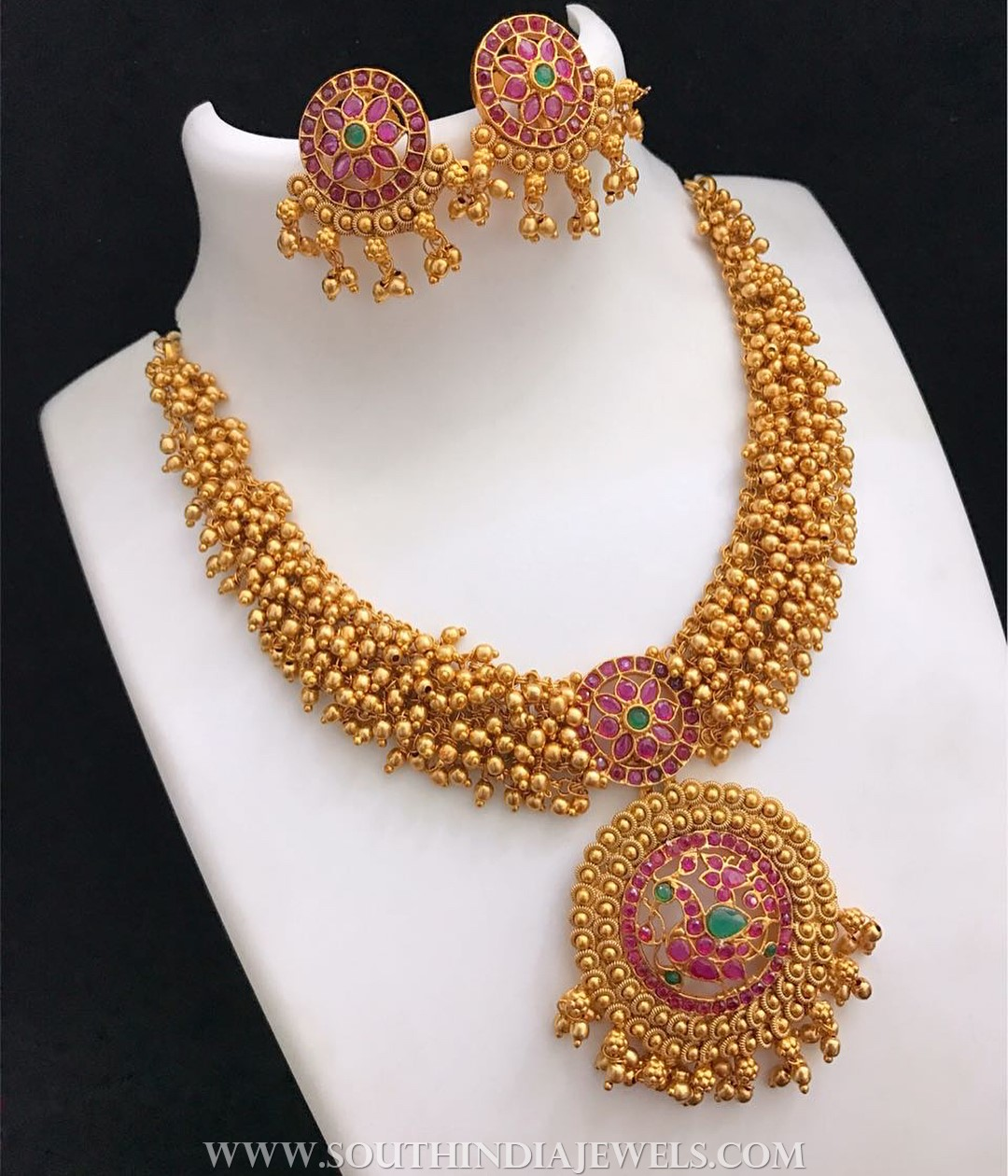 plated mat set ruby artificial fashion finish gold jewellery antique glass emerald necklace img