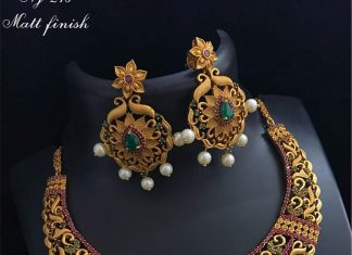 One gram gold stone necklace set bead chicz