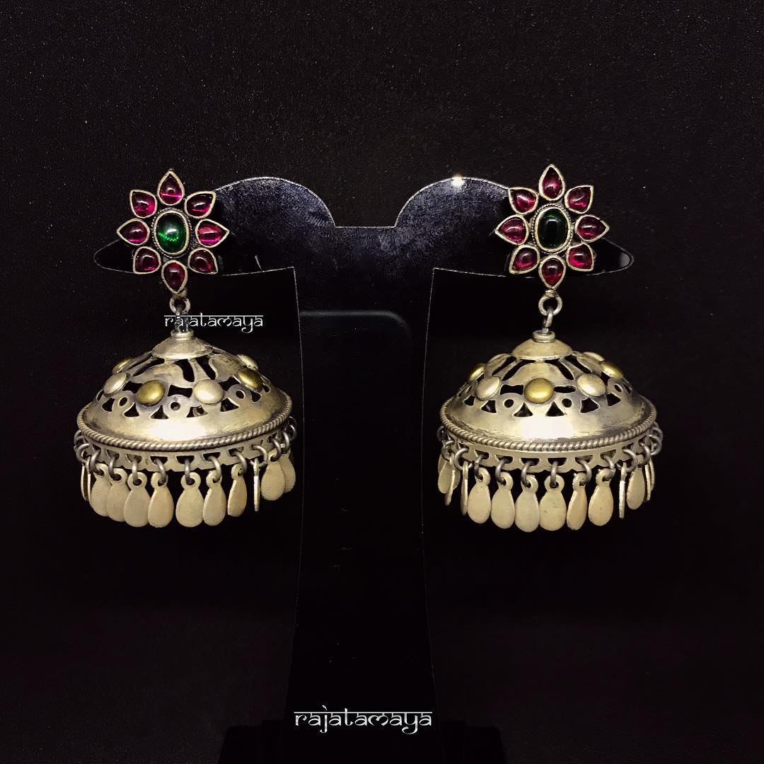 Pure silve jhumka with ruby base rajatamaya
