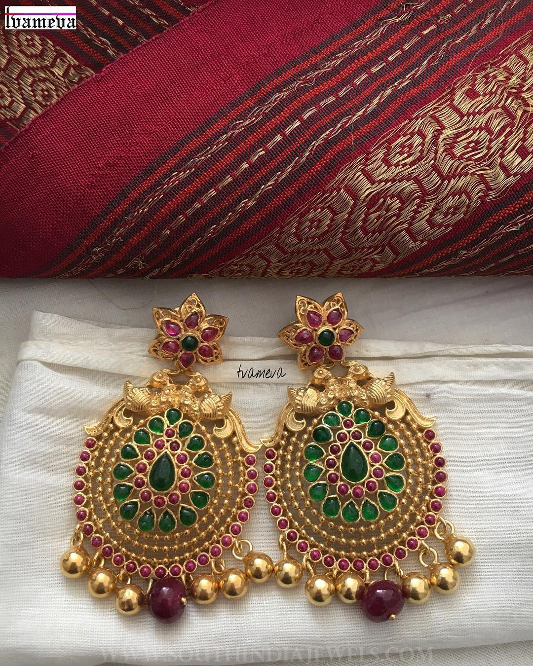 Royal gold plated stone earrings tvameva