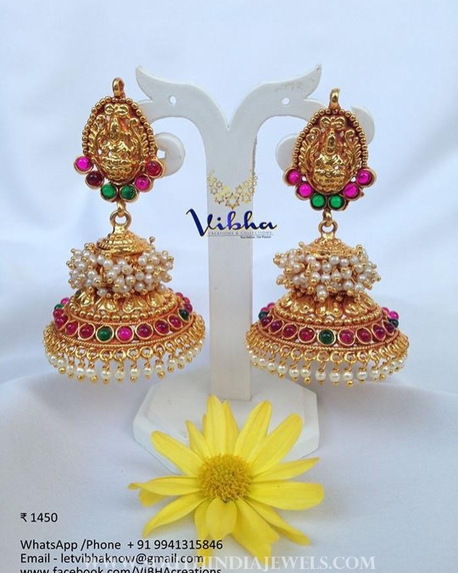 classic one gram gold temple jhumka vibha