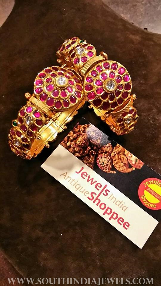 gold antique ruby bangle set jewels india antique shopee