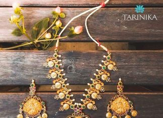 Antique gold plated long necklace set Tarinika