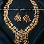Antique Matt Finish Long Lakshmi Haram From Yosha Creations