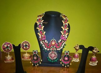Beautiful gold plated ruby jewellery rajatamaya