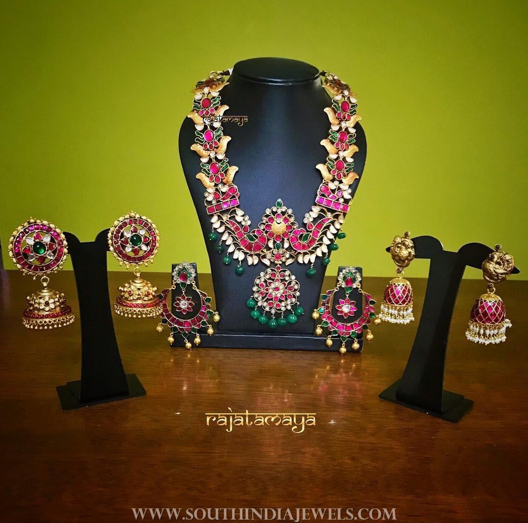Beautiful gold plated ruby jewellery rajatamaya