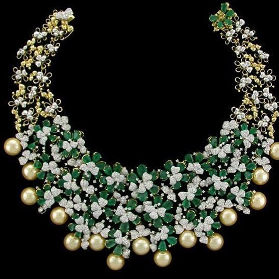 Glittering diamond necklace manjula jewellery