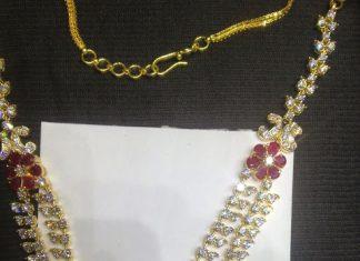 Gold czstone necklace premraj shantilal jain