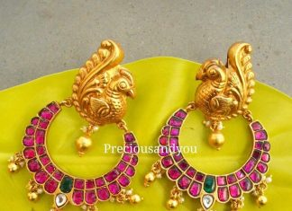 Gold plated antique ruby chandbali preciousandyou