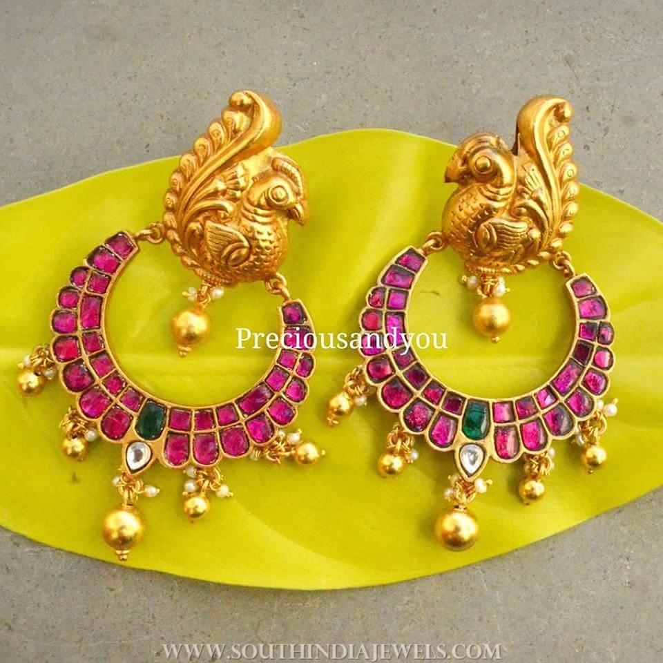 Gold plated antique ruby chandbali preciousandyou