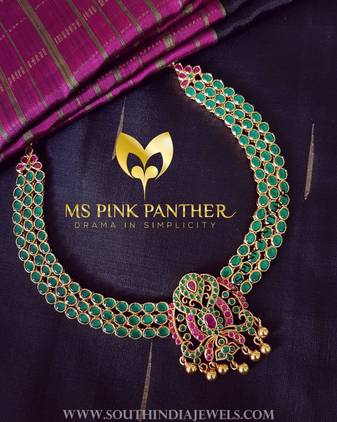 Gold plated emerald attigai ms pink panther