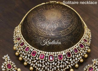 Gold plated solitaire necklace kruthika jewellery