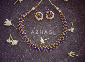 Imitation blue kemp set azhagibeads